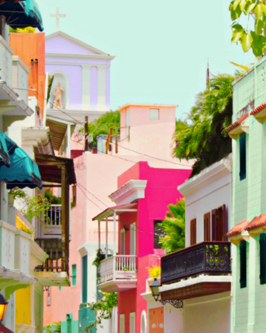 This gorgeous block in Old San Juan, Puerto Rico has us reconsidering the color palette of our homes.
