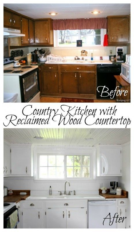 Country Kitchen with Reclaimed Wood Countertop /Remodelaholic ...
