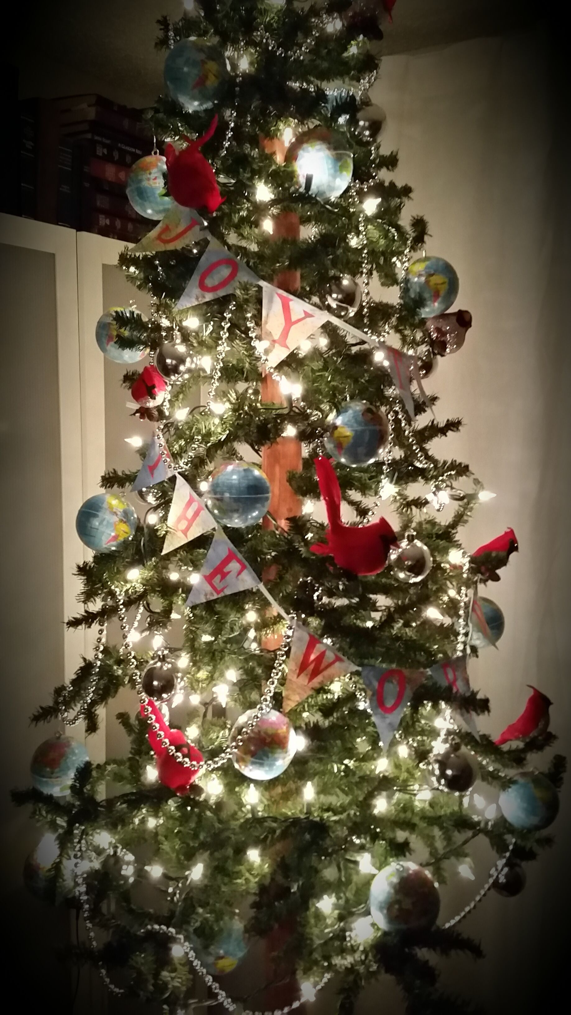 Joy To The World Christmas Tree With Globe Ornaments And Map Banner Used Foam Stress Balls And Insert Miniature Christmas Trees Globe Ornament Christmas Tree