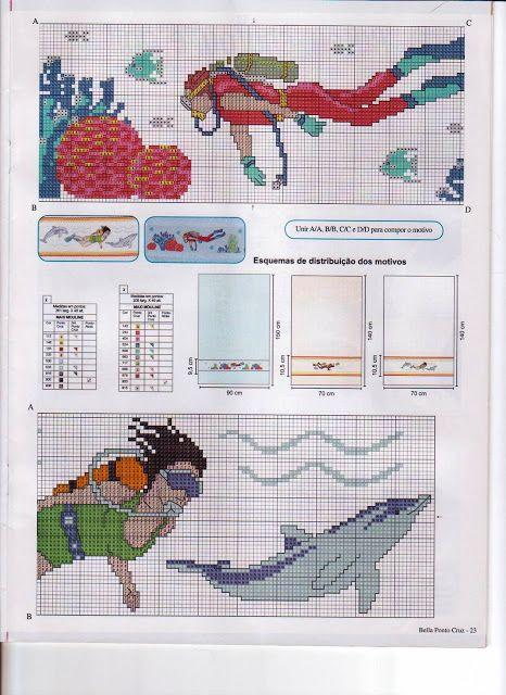 Arco-ÍRIS Ponto Cruz: Gráfico fundo do mar e praia
