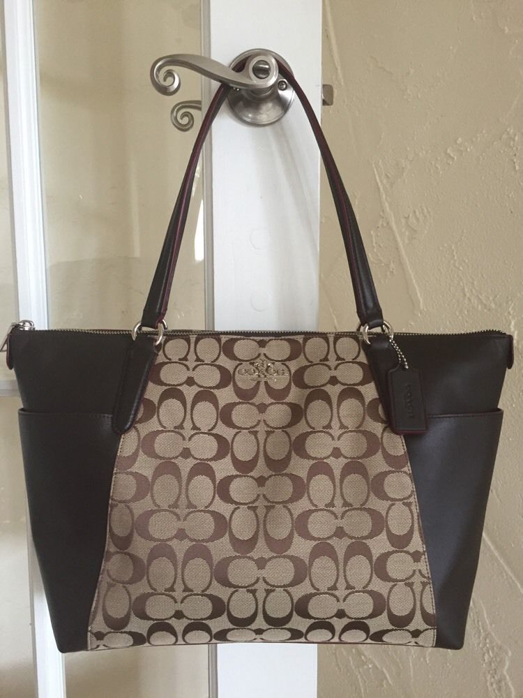 Coach F37231 Signature Ava Ii Khaki Mahogany Canvas Leather Tote Shoulder Bag Ebay