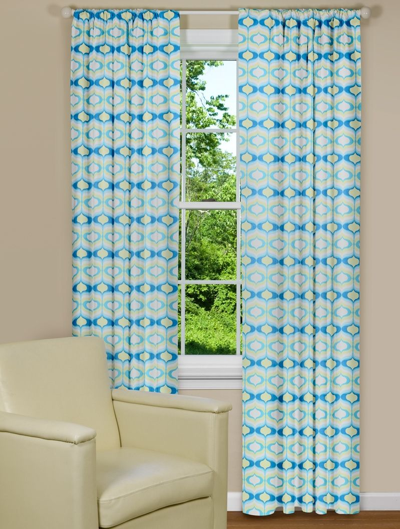 Curtain Panels In Blue And Green Hourglass Design Modern