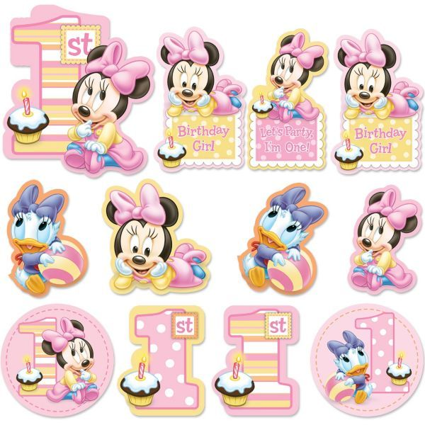 Minnie Mouse 1st Birthday Cutouts 12pc Festa Da Minnie Mouse