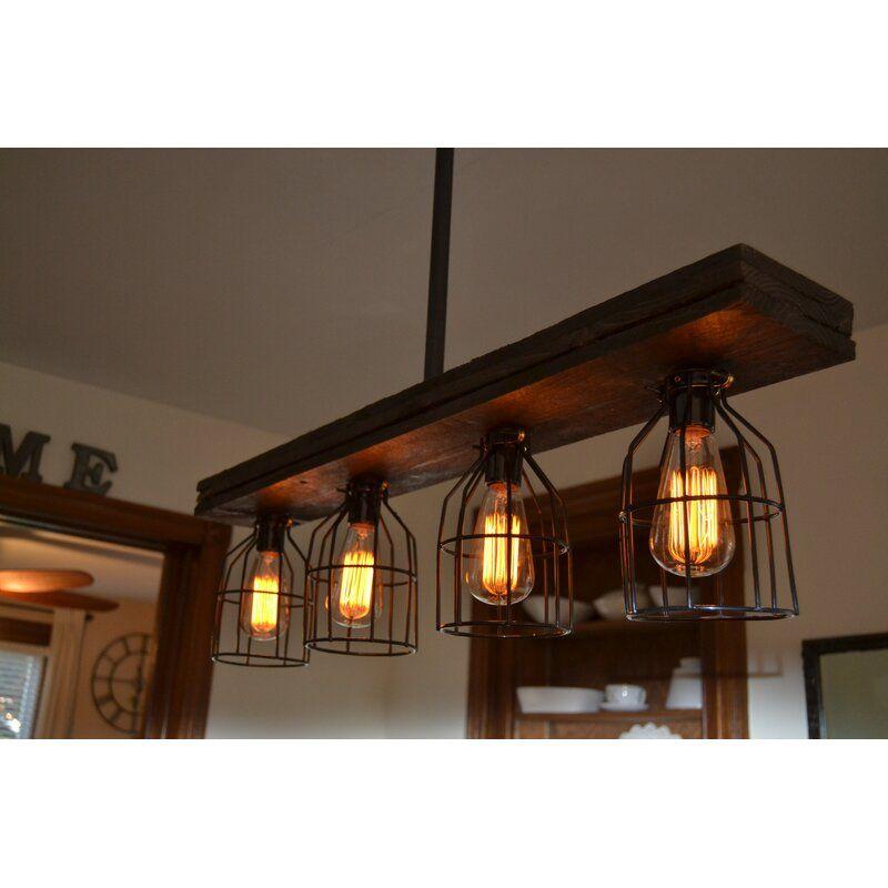 Ashlee 4 Light Kitchen Island Linear Pendant In 2020 Kitchen Lighting Kitchen Lighting Fixtures Wood Lighting Design