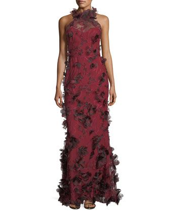 3d floral sleeveless halter evening gown marchesa gowns and floral floral sleeveless halter evening gown by marchesa notte at neiman marcus junglespirit Choice Image