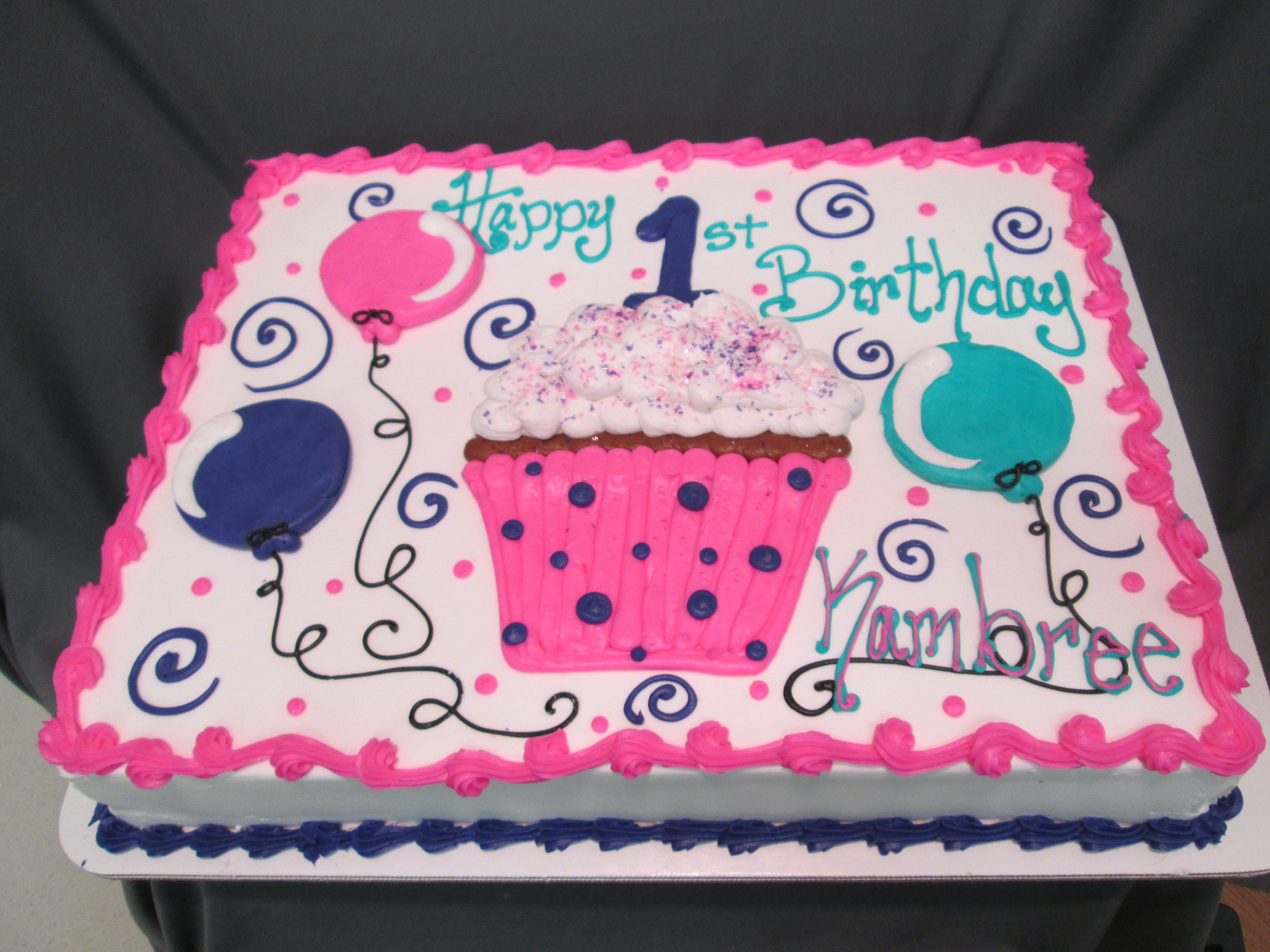 Cupcake and Balloon First Birthday Sheet Cake sugarshackscia