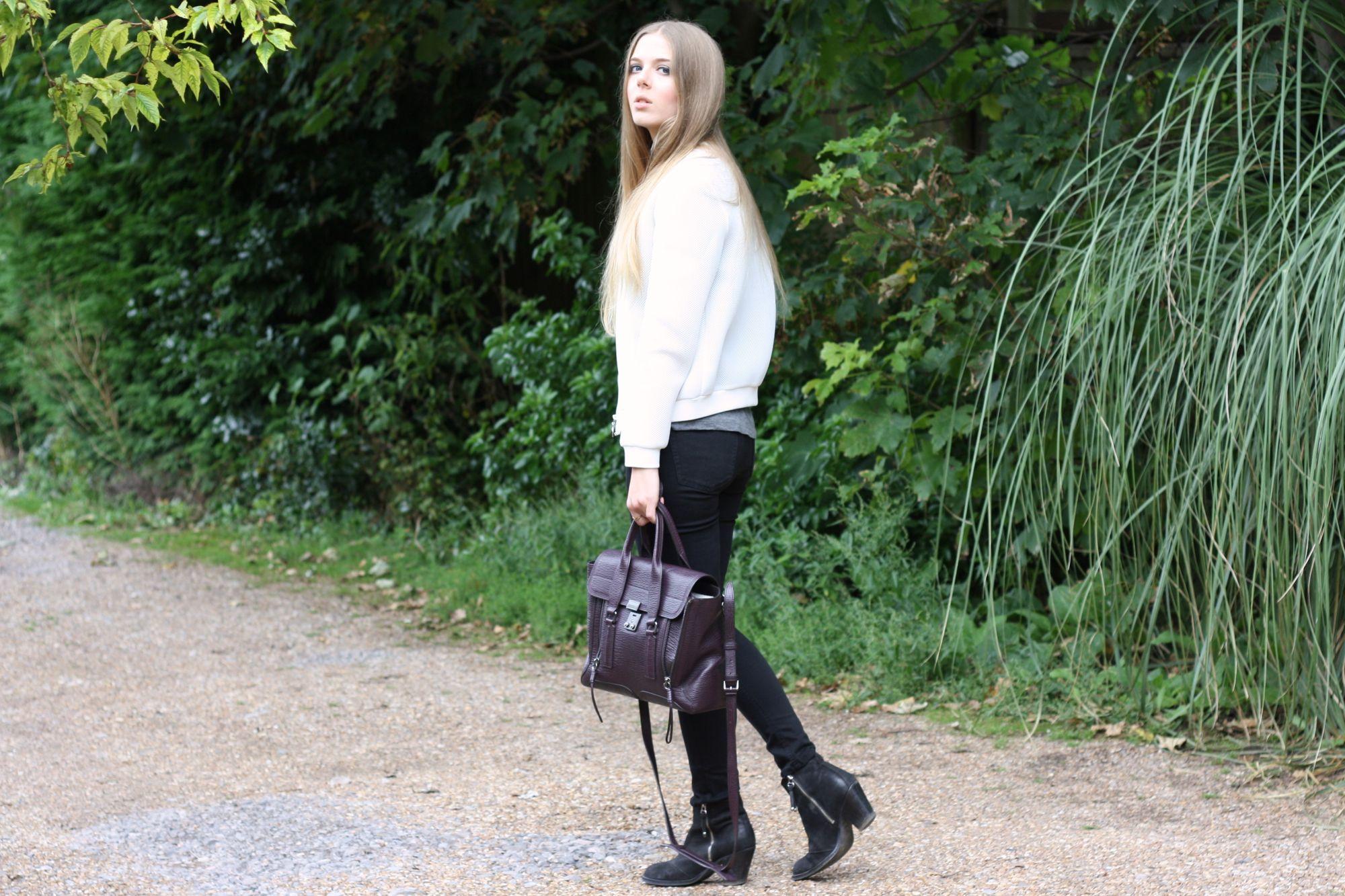 anna lou elliott | 31.08.14 wearing #Topshop white mesh bomber jacket, Topshop black ankle boots and #PhillipLim #Pashli burgundy medium #todayimwearing #ootd