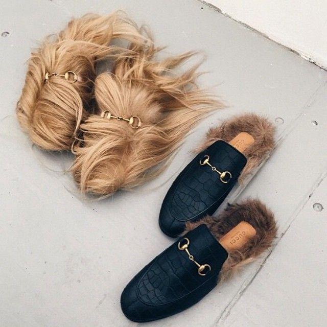gucci fur slip-ons for winter!! #gucci