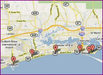 Map Of Biloxi Attractions Mississippi Travel Mississippi