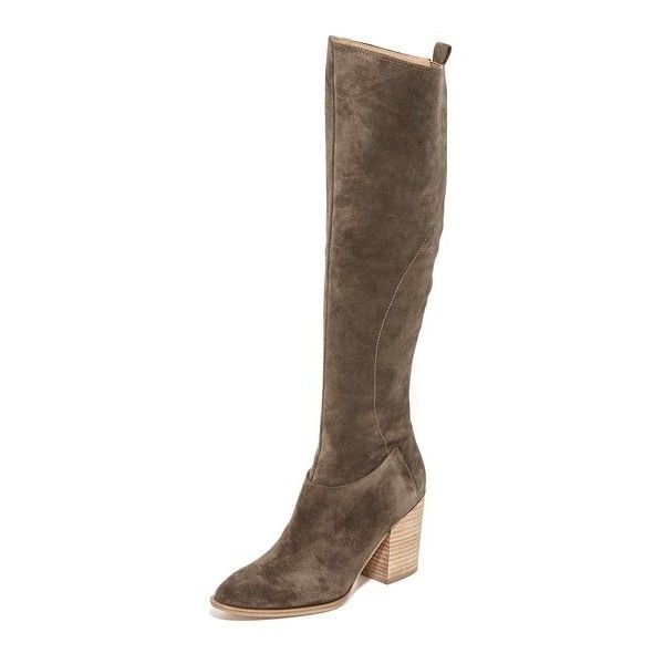 Sigerson Morrison Gazella Tall Boots (4,445 GTQ) ❤ liked on Polyvore featuring shoes, boots, vigogna, leather zipper boots, zipper boots, high leather boots, genuine leather boots and pointed toe boots