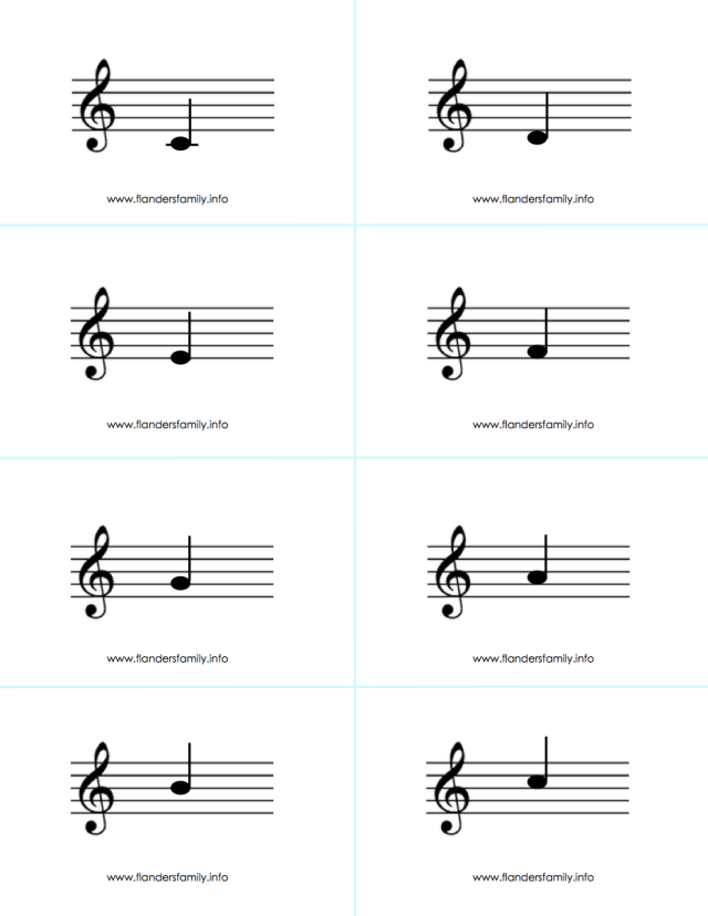 Musical Note Flashcards for beginning piano students {free