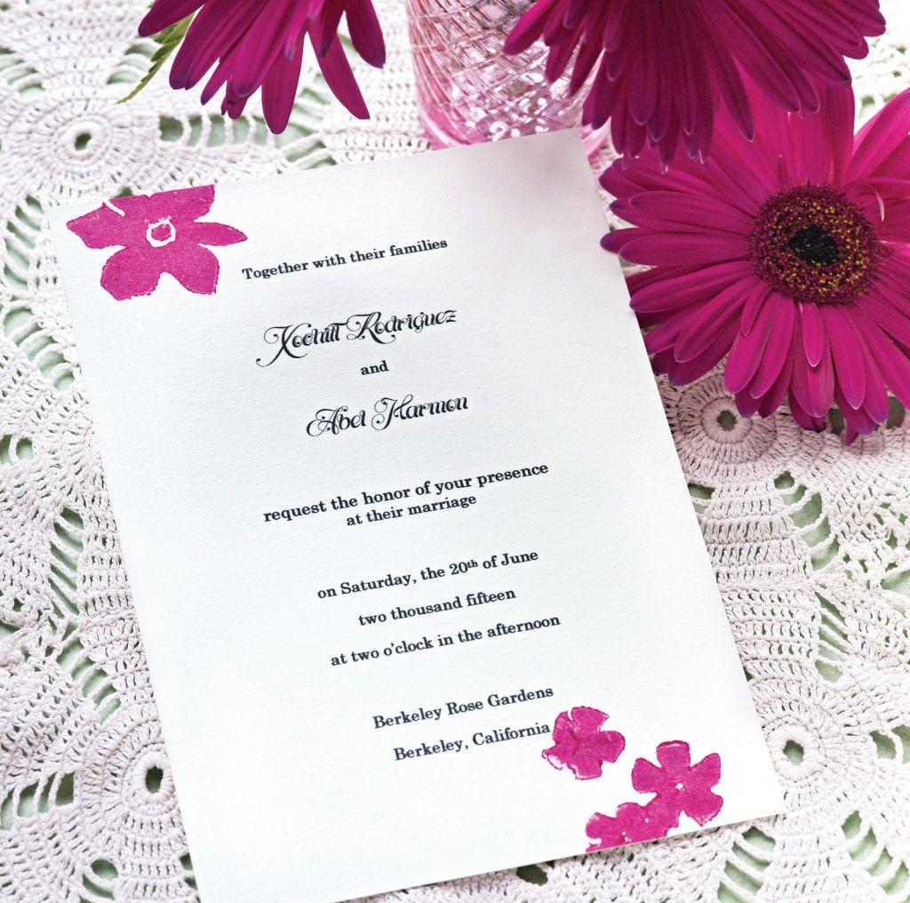 DIY Block Printing Homemade Wedding Invitations