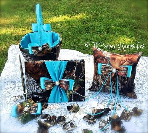 Mossy Oak Satin Camo With Teal Satin And Pearl Accents