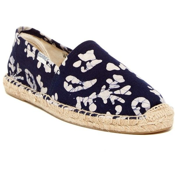 Soludos Original Espadrille Slip-On Shoe ($35) ❤ liked on Polyvore featuring shoes, blue white, woven shoes, slip-on shoes, round toe shoes, round cap and soludos shoes