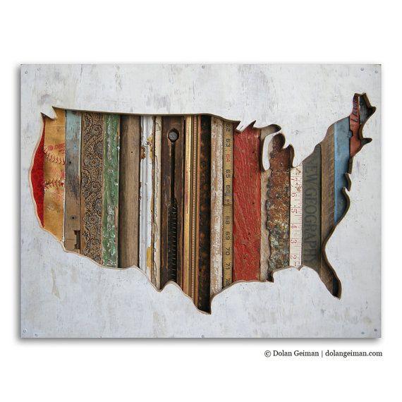 United States Map Art on Wood,