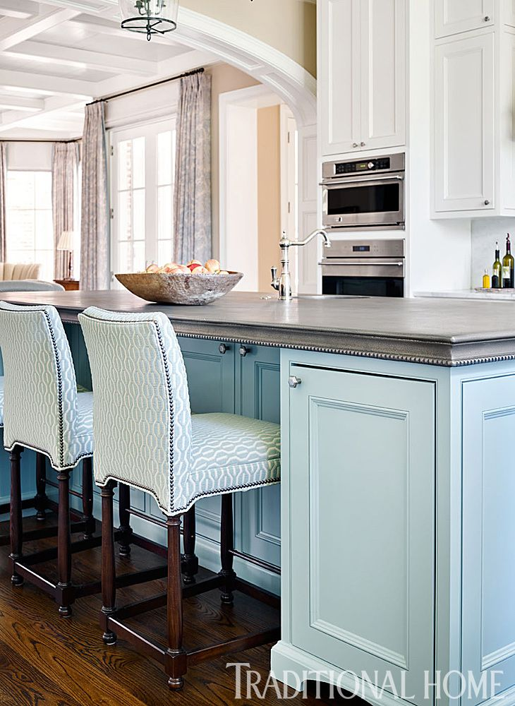 Nashville Home Filled With Harmonious Hues In 2020 Bar Stools Kitchen Island Blue Kitchen Island Home