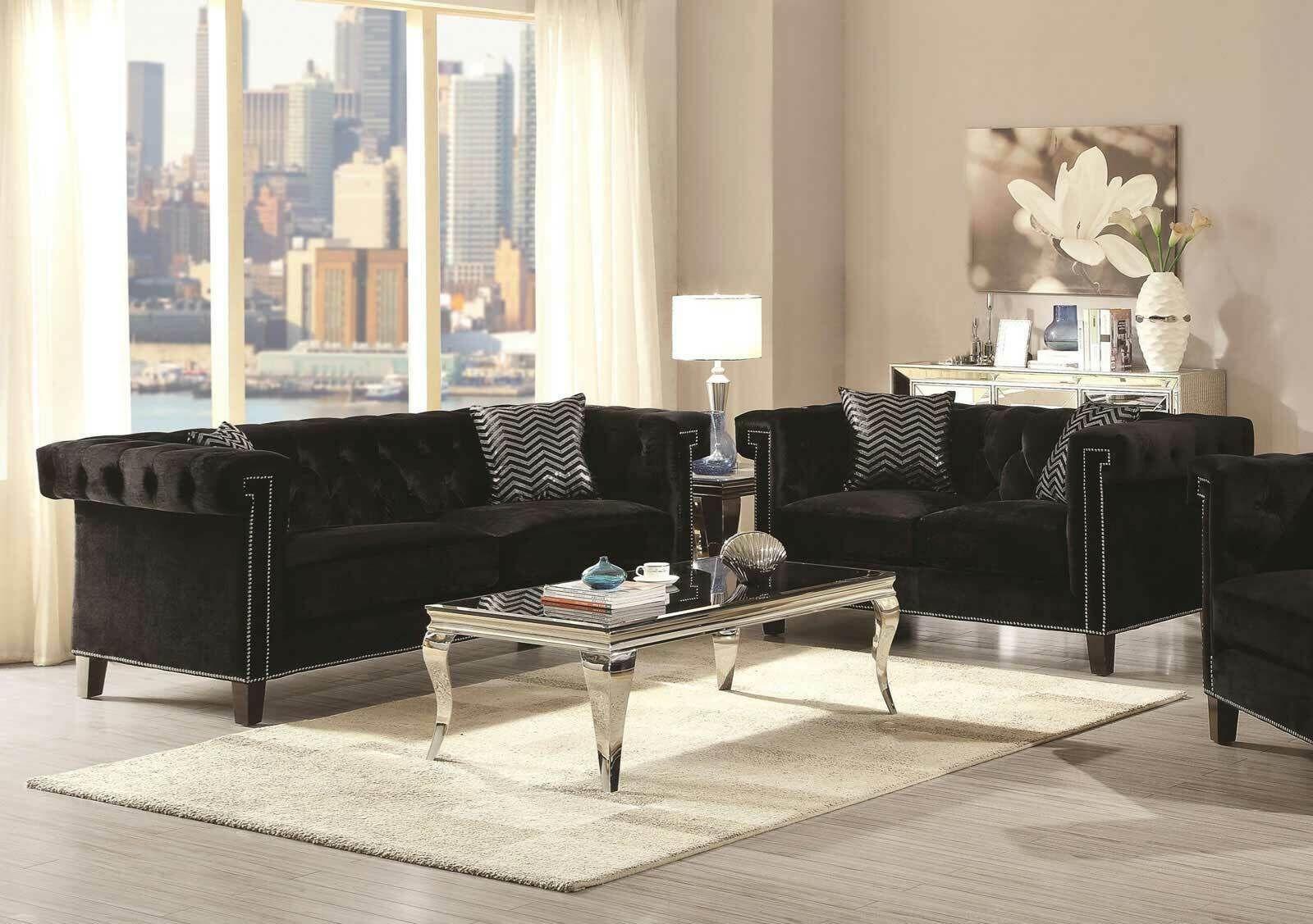 New Mid Century Modern Black Fabric Sofa Loveseat Living Room Furniture Set Ig7c Microfiber Couch Ideas Of M Living Room Sets Furniture Loveseat Living Room