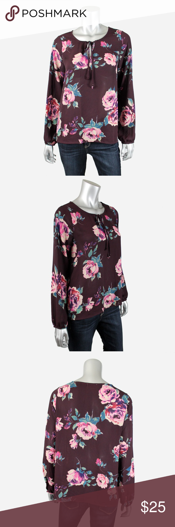 Everly Floral Long Sleeve Keyhole Top M J031 Everly burgundy floral long sleeve top with keyhole scoop necline.  • 100% polyester • Excellent condition, no flaws or signs of wear.  All pictures are my own & of the actual item for sale. Offers welcome, no trades. Everly Tops Blouses