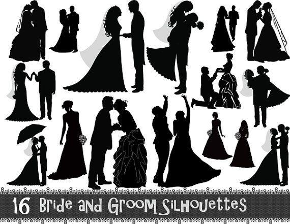 Instant Download 16 Digital Bride and Groom Silhouette Clip Art Wedding ClipArt Wedding Invitation Scrapbook Digital Design Card Design 0035...