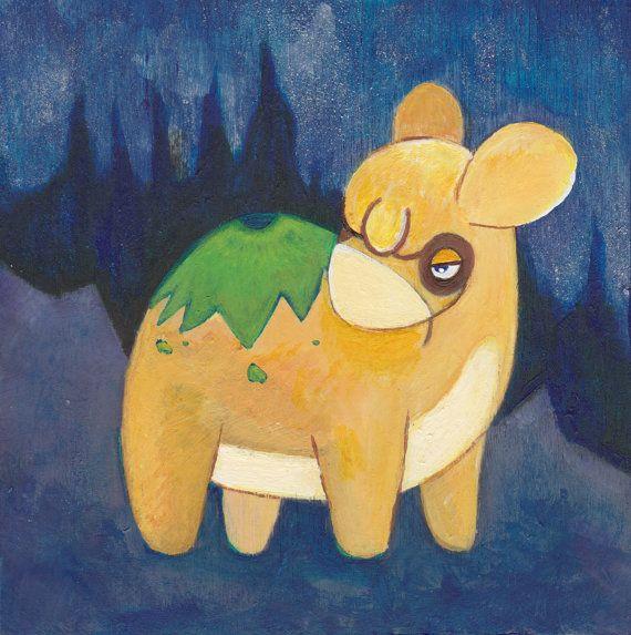 """Original Pokemon Painting - Numel - Acrylic on Wood - 4""""x4 ..."""