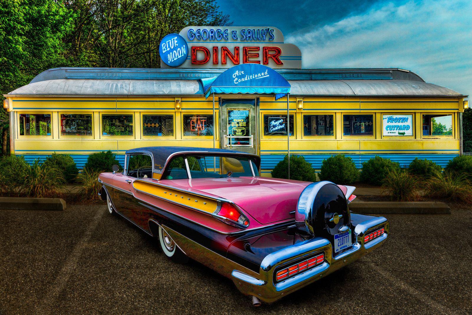 Americana classic car vintage diner diners for Diner artwork