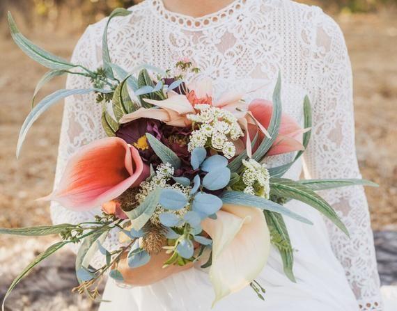 Bridal Bouquet, Calla Lily Bridal Bouquet, Boho Wedding, Winter Wedding Accessory, Autumn Wedding Bo #fallbridalbouquets