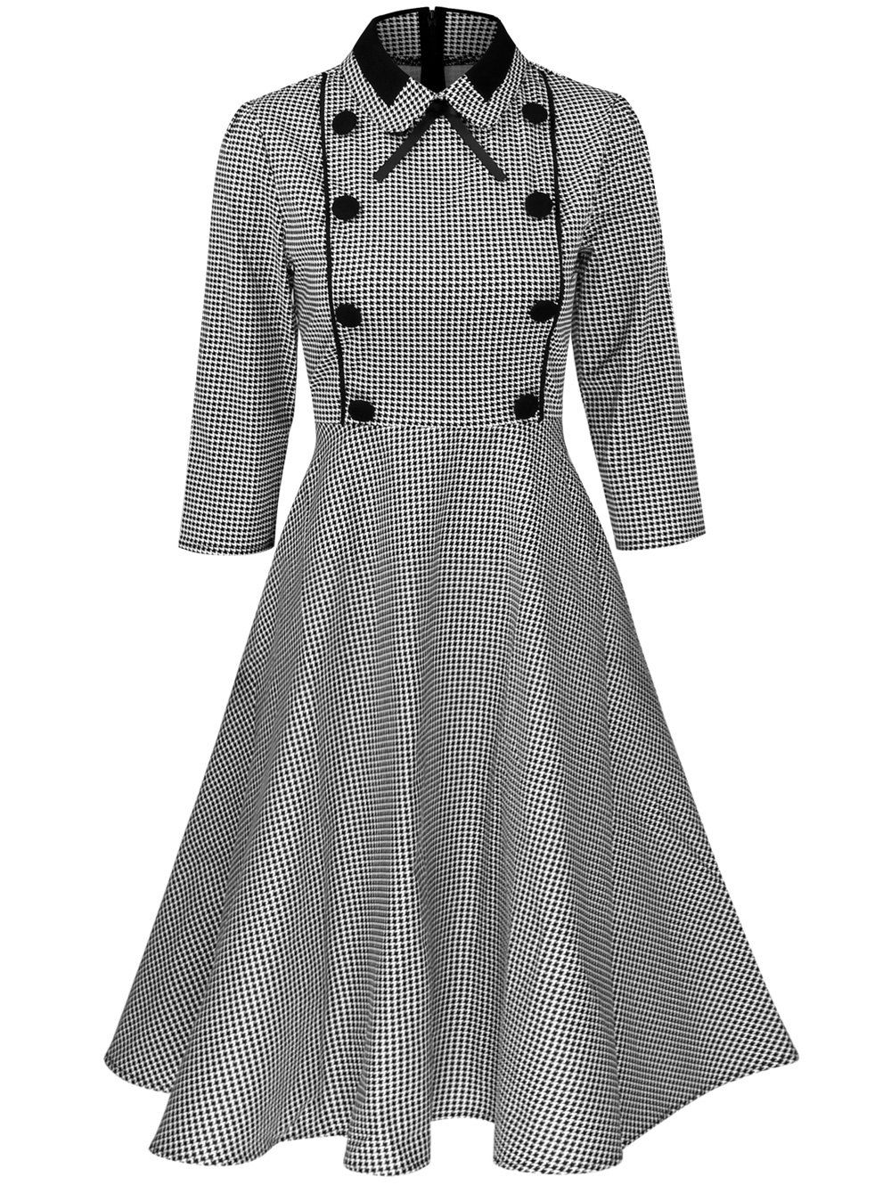 Plus Size Houndstooth Print Vintage Pin Up Dress Houndstooth