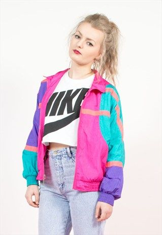 90 39 s neon colour block shell tracksuit jacket top for 90er party outfit