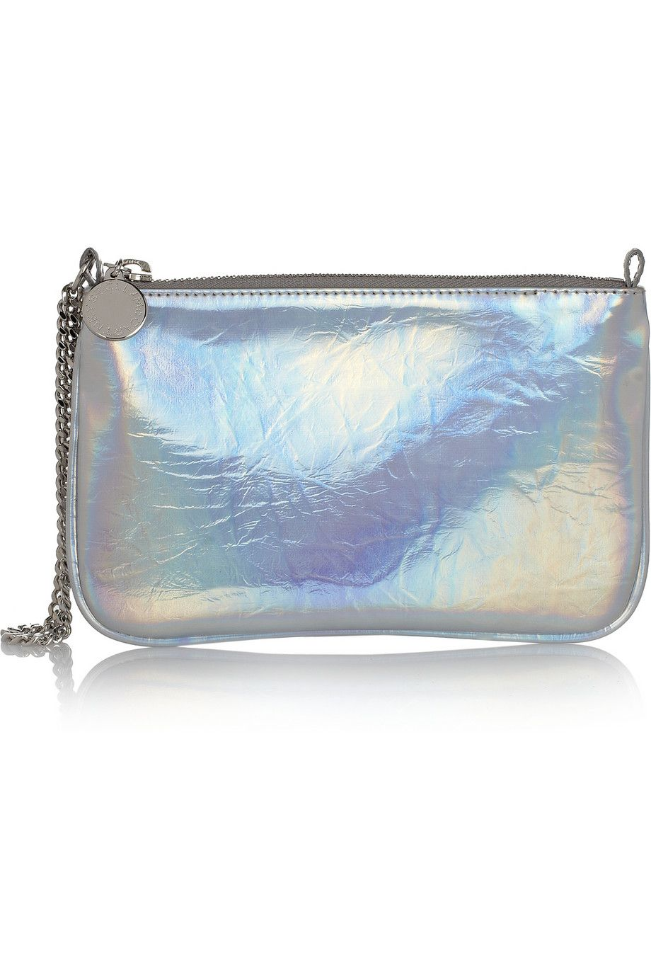Stella McCartney Holographic faux brushed-leather pouch NET-A-PORTER.COM