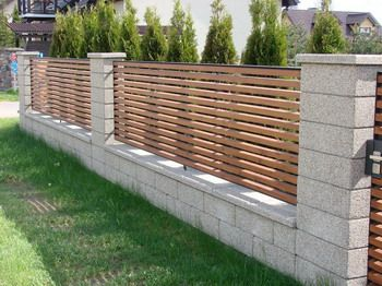 Block Wall N Wood | Privacy fence designs, Fence design ...