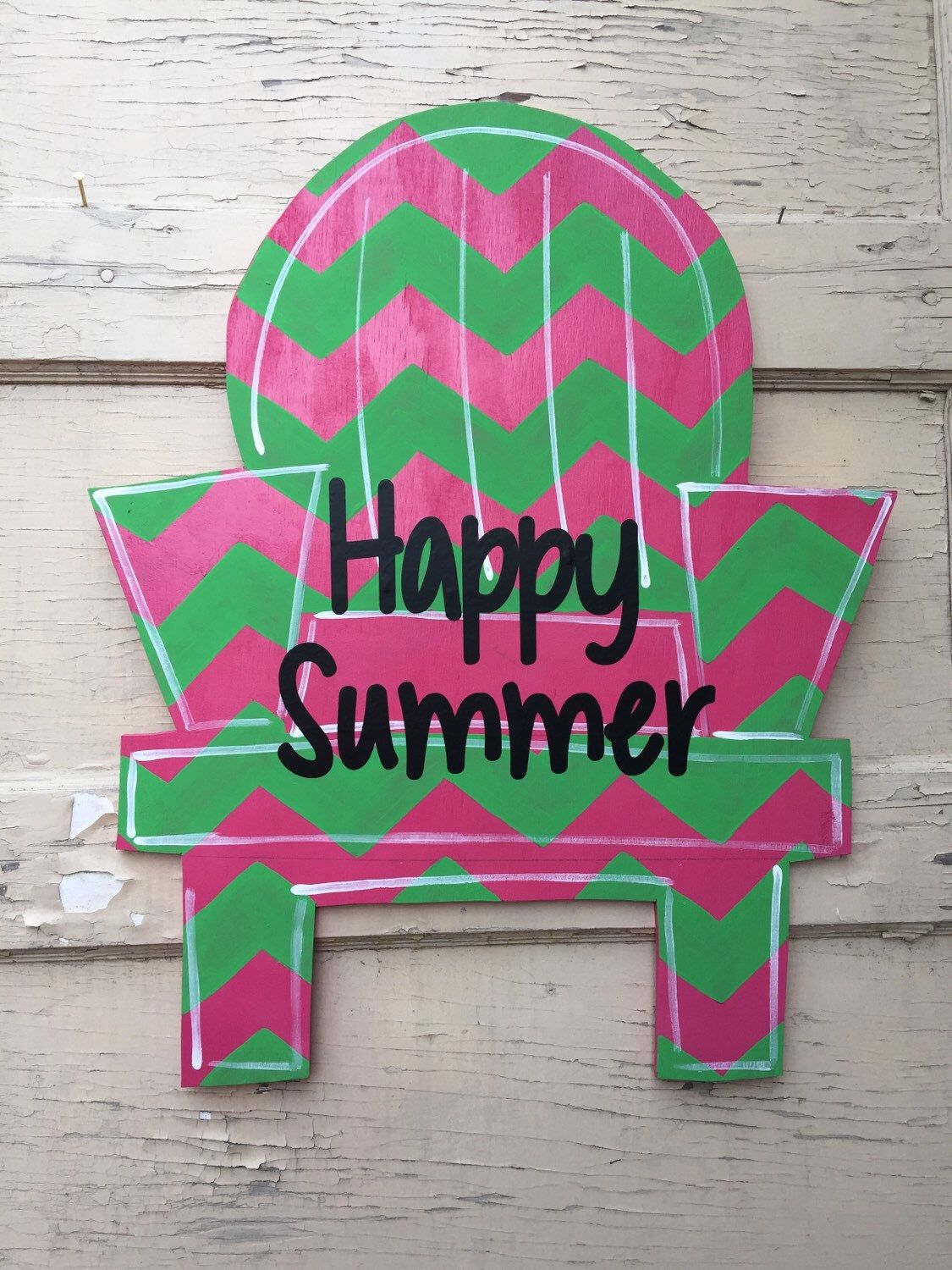 A personal favorite from my Etsy shop https://www.etsy.com/listing/228576314/happy-summer-adirondack-chair