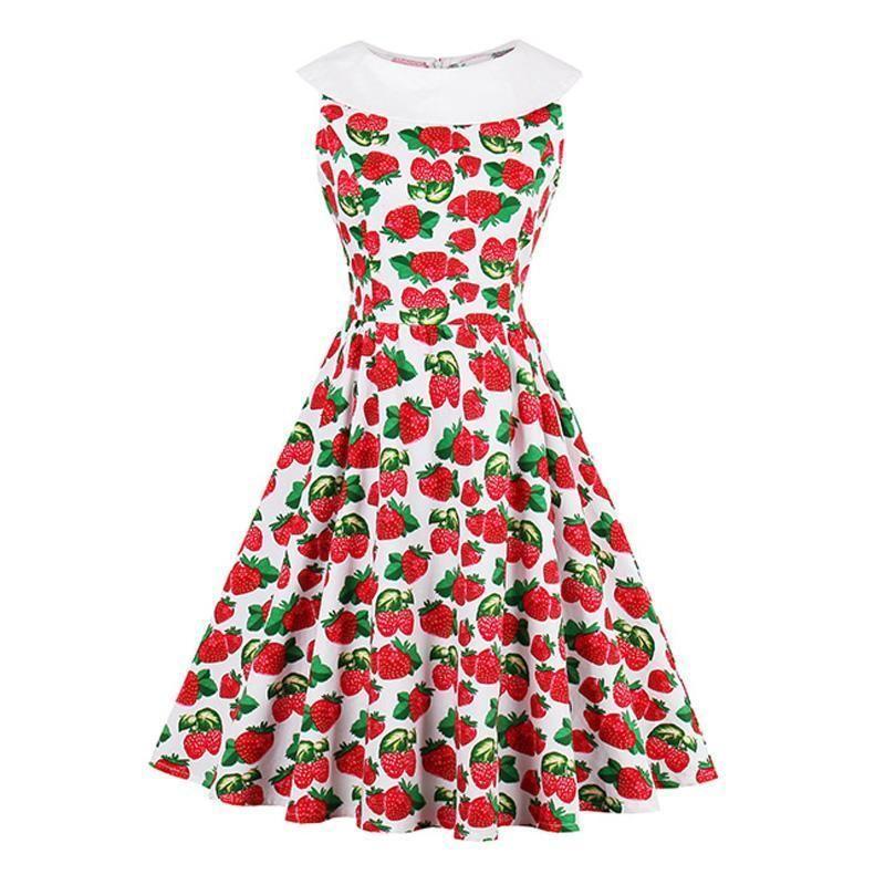 Floral Print Vintage Dress Sleeveless Luxury Strawberry Party Dress Elegant Cute Beauty Summer New Vintage Girl Dresses