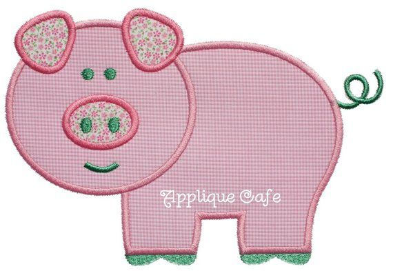 Pig machine embroidery applique design products