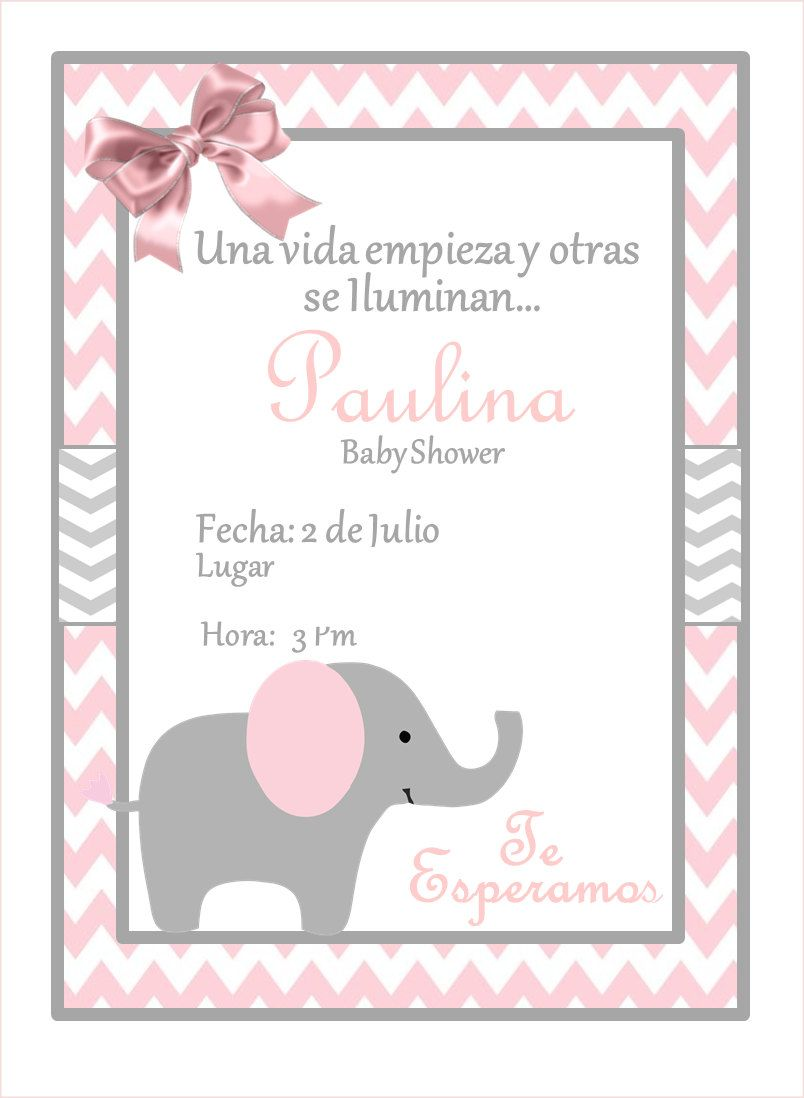 NEW!!!! Pink Elephant Baby Shower Invitation | Babyparty und Babys