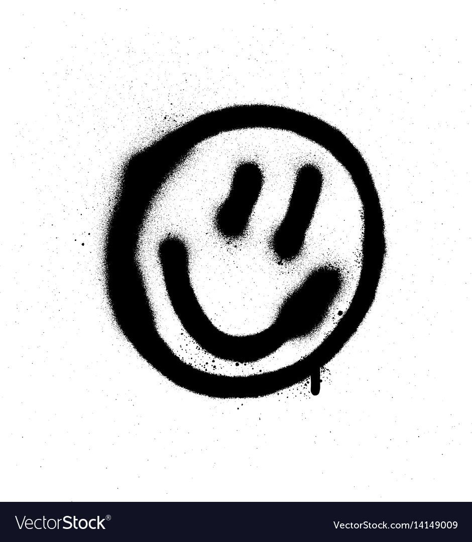 Graffiti Smiling Face Emoticon In Black On White Download A Free Preview Or High Quality Adobe Illustrator Ai Eps Pd In 2020 Graffiti Street Art Graffiti Smile Face