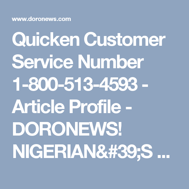 Quicken Customer Service Number 18005134593 Article