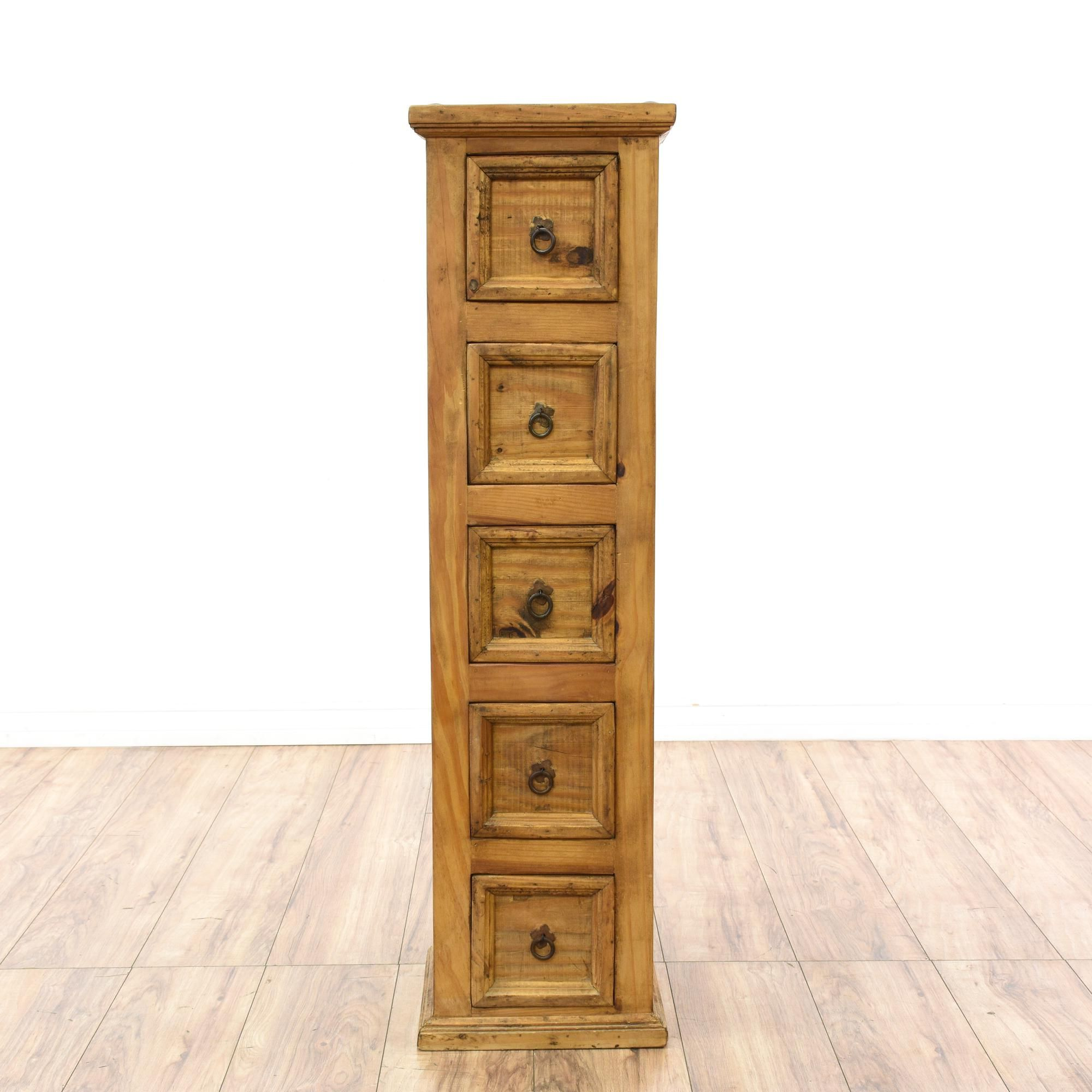 Superior Tall Narrow Rustic Pine Chest Of Drawers