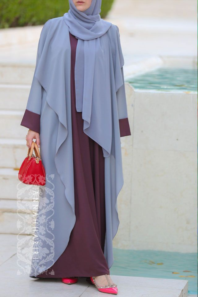 Abaya Dress Grey&Maroon