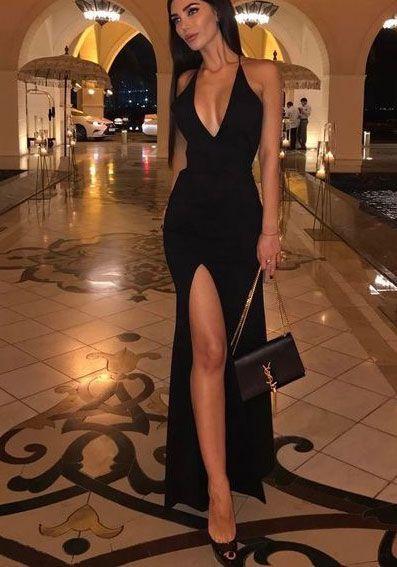 Halter Black Slit Side Prom Dresses Under 100