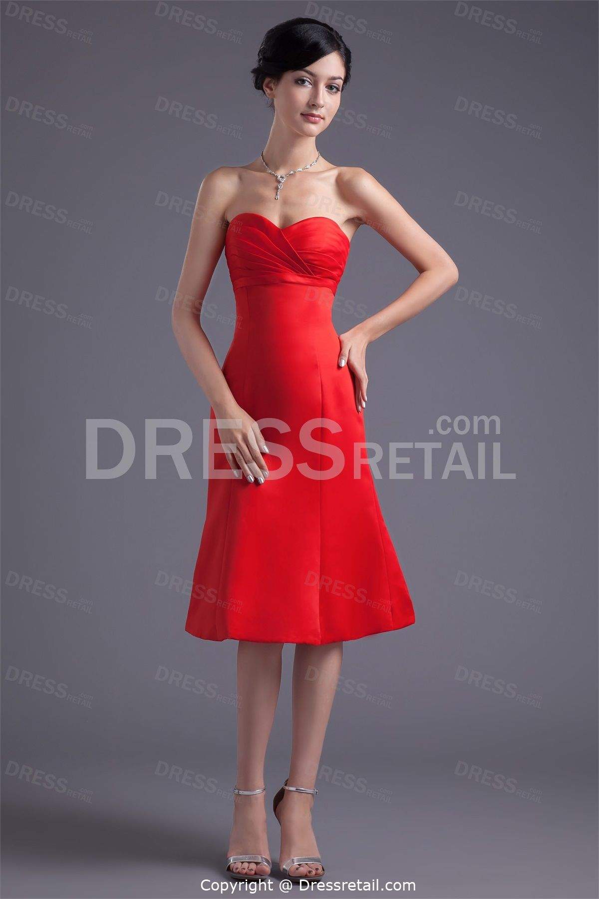 Bright red kneelength bow satin aline sweetheart bridesmaid dress