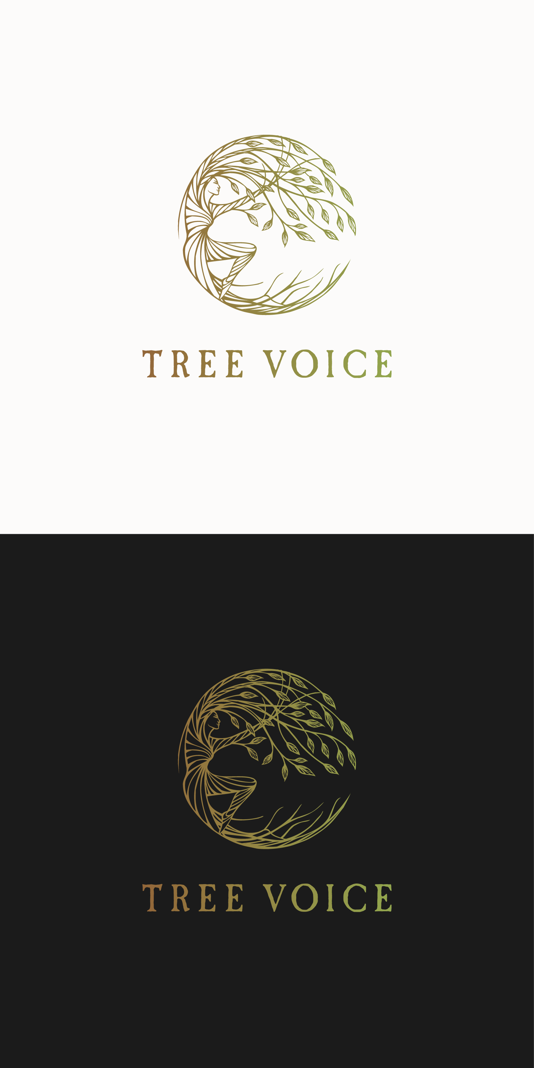 Hand drawn logo design for a person connected to the tree