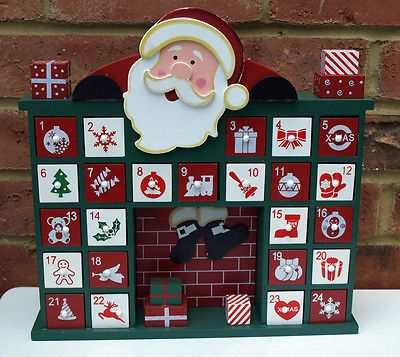 Advent calendar wooden drawers self fill father #christmas