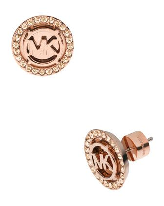 Logo Pave Stud Earrings Rose Golden by Michael Kors at Neiman