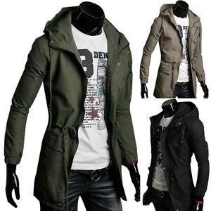 Mens Vintage Long Coat Trench Overcoat Hooded Military Parka ...