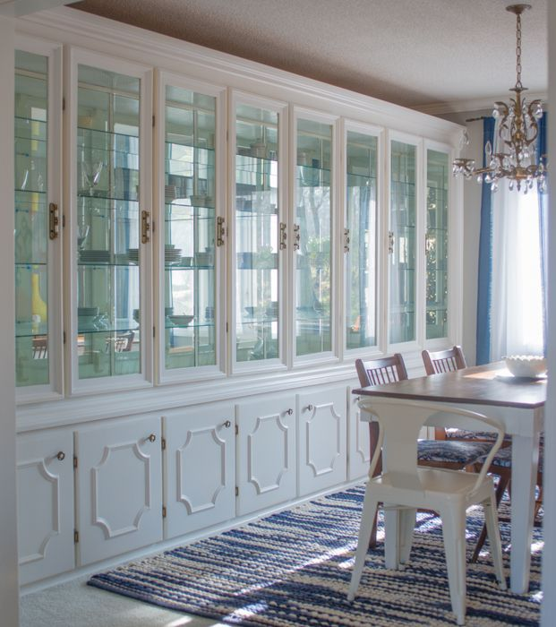 DIY Beautiful Bright And Fun LOW COST Dining Room Makeover Put Glass Doors On The Eat In Cabinets