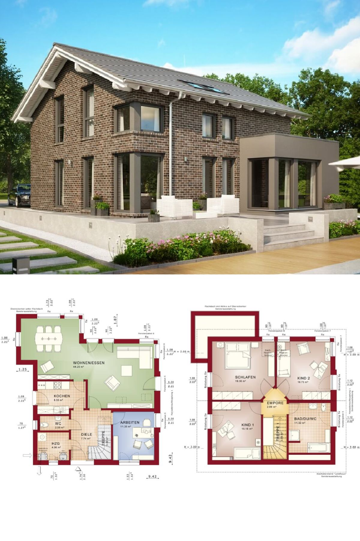 modernes haus design mit klinker fassade und satteldach fertighaus evolution 143 v7 bien zenker - Fertighausplne