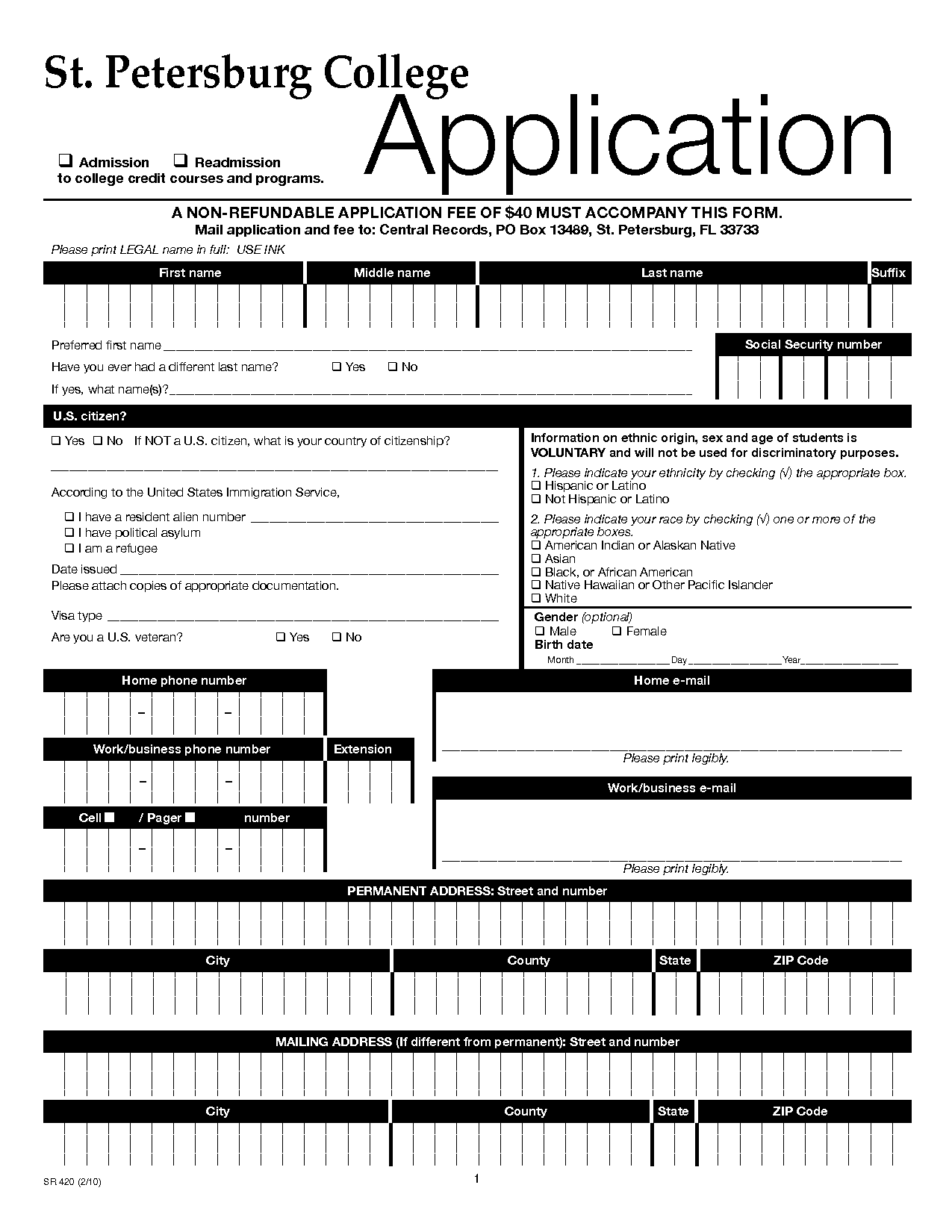 Printable College Application Forms