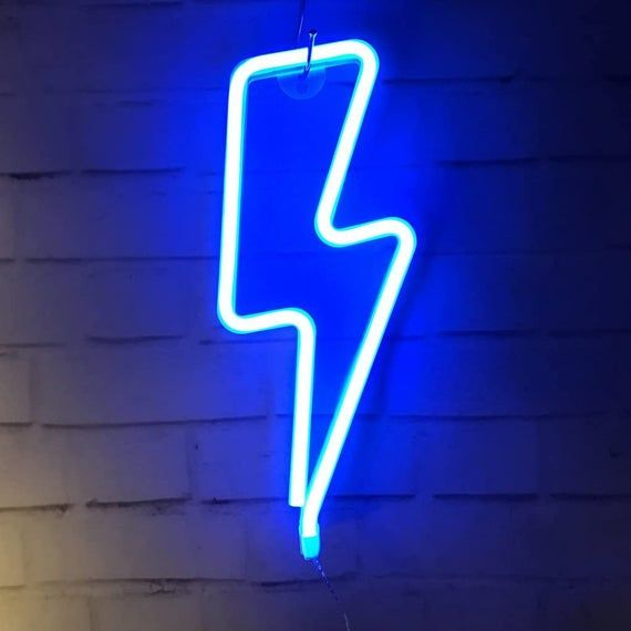 Neon Light Sign LED Lightning Shaped Night Light W