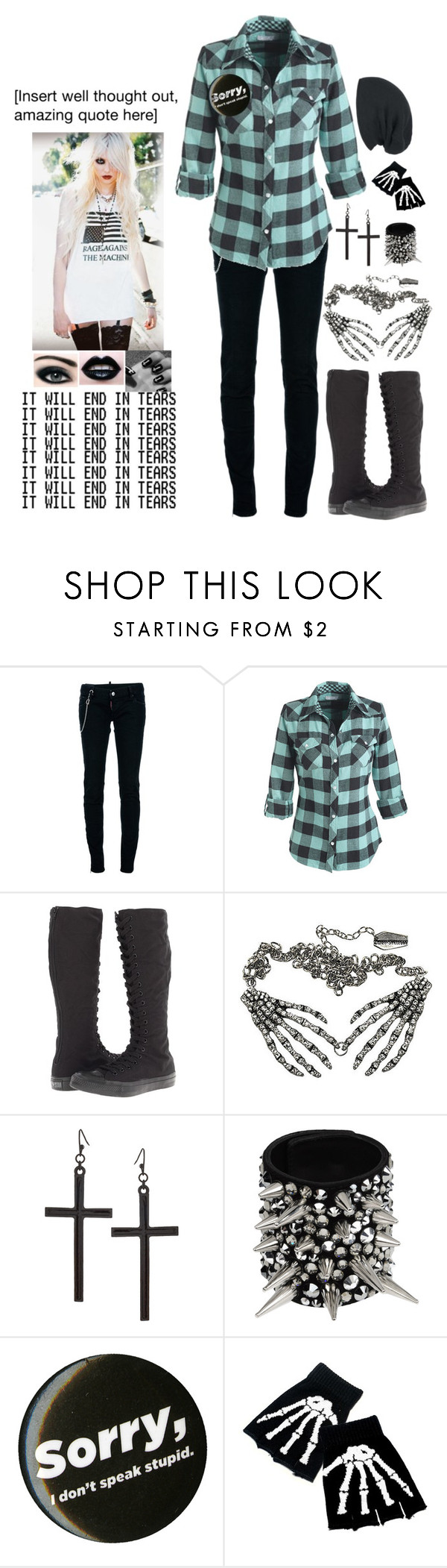 """challenge accepted!"" by camreon ❤ liked on Polyvore featuring Dsquared2, Converse, Kreepsville 666, ASOS and Giuseppe Zanotti"