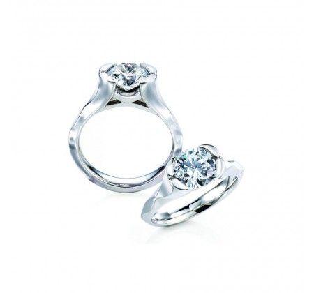 18K White Gold Ensay MaeVona Half Bezel Engagement Ring